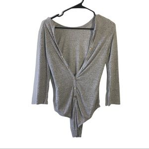 Auditions Deep V-Neck Open Front gray Body Suit M